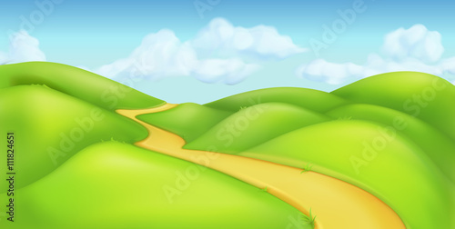 Green landscape, vector background