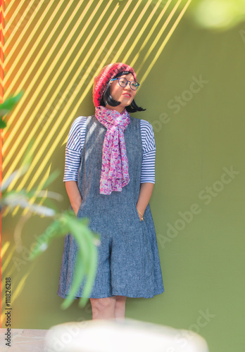 portrait head shot of thai asian woman 40s years wearing  winter