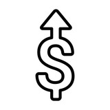 Salary raise or raising money line art icon for financial apps and websites
