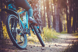 Fototapety cyclist riding mountain bike in the forest