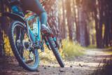 rowerzysta jazda na rowerze górskim w lesie