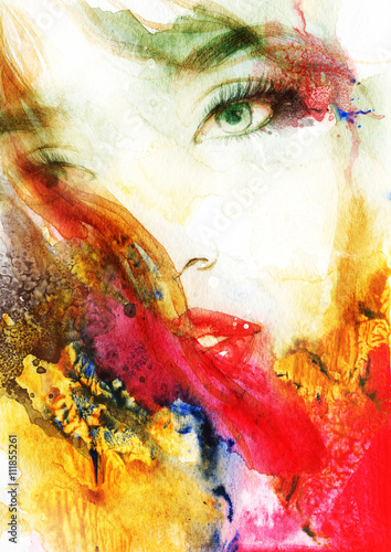 Zdjęcia na płótnie, fototapety na wymiar, obrazy na ścianę : Beautiful woman face. Abstract fashion watercolor illustration