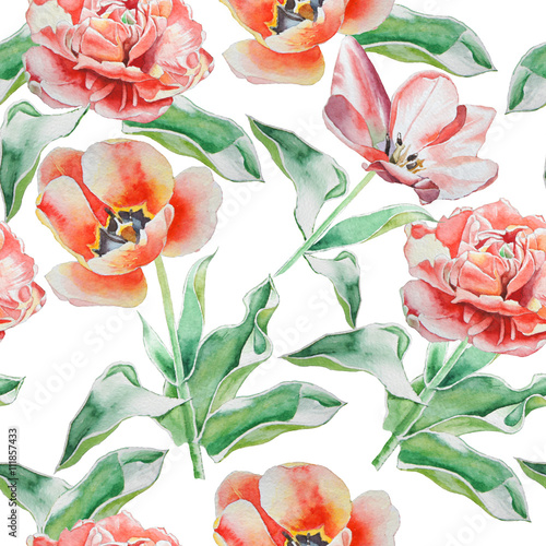 Fototapeta Seamless pattern with tulips. Watercolor.