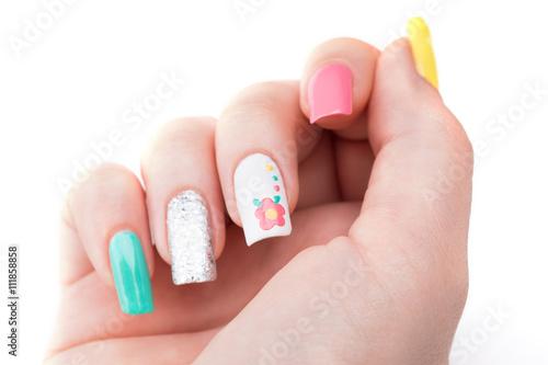 Manicure - Beauty treatment photo of nice feminine manicured woman fingernails.  © tamara83