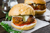 Sandwich with meatballs of beef and cheese