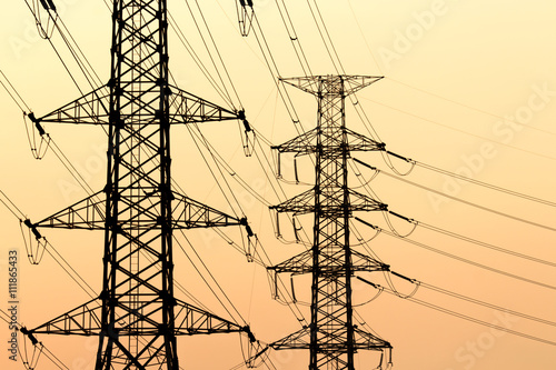 Foto op Canvas Texas silhouette of high voltage electrical pole structure