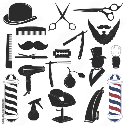 Barbershop tool collection Poster