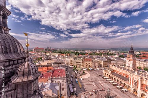 Zdjęcia na płótnie, fototapety na wymiar, obrazy na ścianę : Krakow Old city under blue sky seen from above