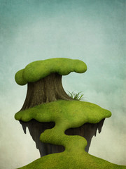 Fantasy background with  small green island on the tree