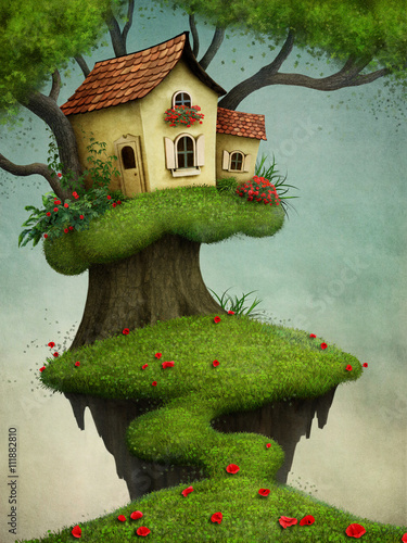 Fantasy illustration for greeting card or  poster with  house on  tree - 111882810