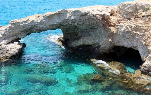 Mediterranean Sea caves nature wonder - Cape Greco Cyprus, famous touristic destination