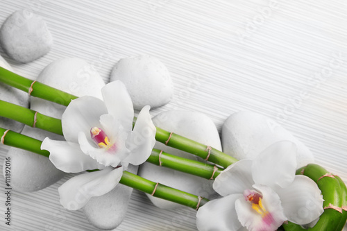 Zdjęcia Beautiful spa composition with bamboo on light wooden background