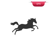 running horse silhouette, icon,  vector illustration