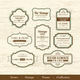 vector vintage frame set on wood texture background design elements - 111931070