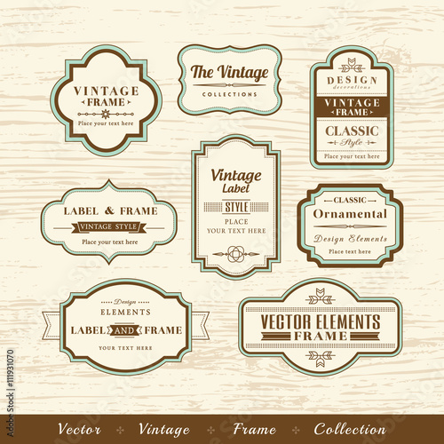vector vintage frame set on wood texture background design elements