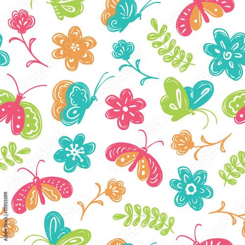Zdjęcia na płótnie, fototapety, obrazy : Children's doodle style vector seamless pattern with cute buterf