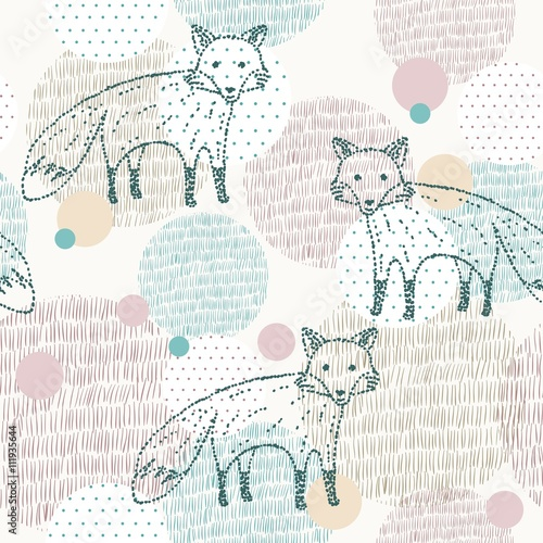 Cotton fabric Vector drawn seamless geometric pattern with fox