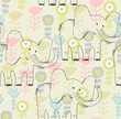vector hand draw seamless pattern with elephant