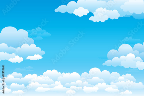 Fototapeta Sky with clouds on a sunny day. Vector illustration
