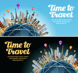 Travel to world. Trip. Landmarks on the globe. Vacation or tourism