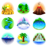 Fototapety Nature icons vector set