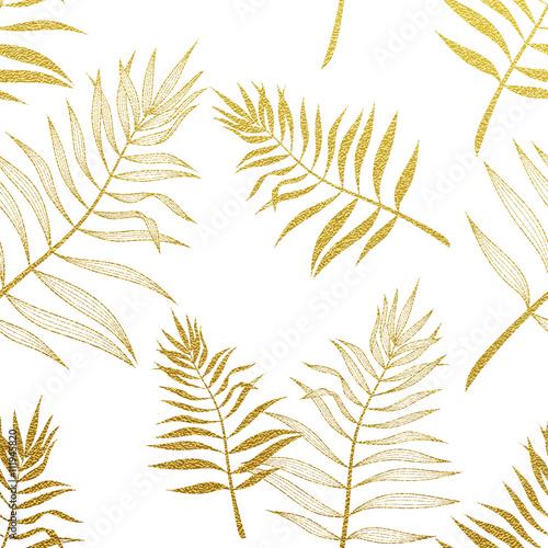 Palm leaves seamless pattern. Vector botanical illustration. - 111945820