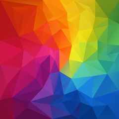 vector abstract irregular polygon background with a triangular pattern in full color rainbow spectrum colors © ardely