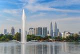 Kuala Lumpur city skyline at at Titiwangsa park, Malaysia