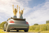 Rear view of young happy people enjoying road trip in their convertible