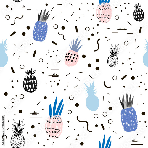 Creative trendy seamless pattern with pineapples. Hand drawn texture - 111954207