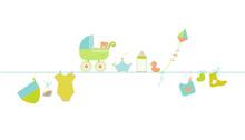 Karta baby shower z życzeniami. Wiszący symbole baby boy ilustracje