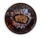 Beef steak in pan served on grill