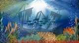 Underwater landscape banner, vector illustration