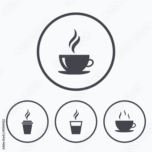 Wall mural Coffee cup icon. Hot drinks glasses symbols.