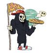 Pizza delivery reaper grim,