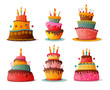 birthday cakes set