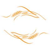 Gold ripe wheat ears frame, border or corner element. - 111980479