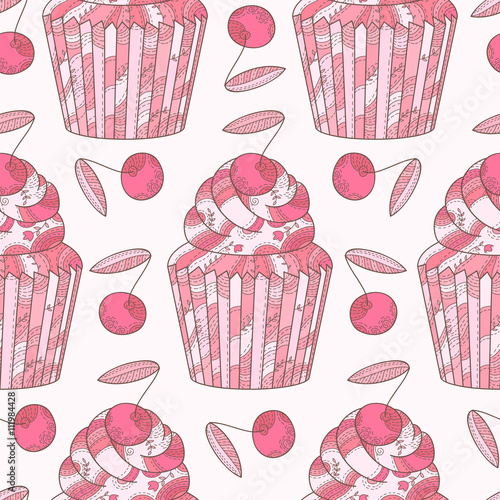 Fototapeta Abstract seamless pattern with cherry and cupcakes