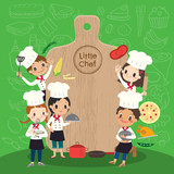 Fototapety group of young chef with chopping block children kids cartoon illustration