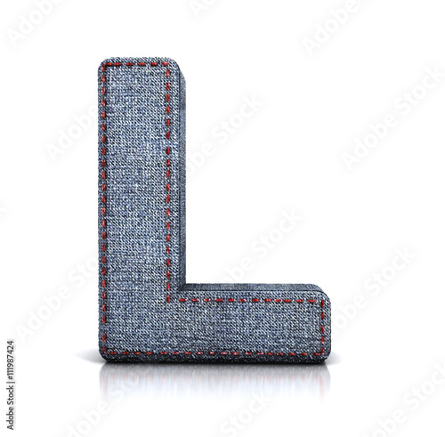L letter, from Font of denim (jeans) fabric. 3d illustration isolated on white.
