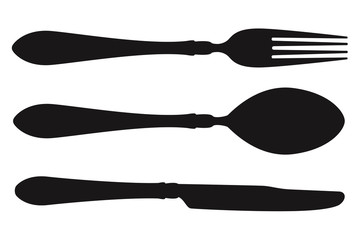 Cutlery set icon. Fork, spoon and knife