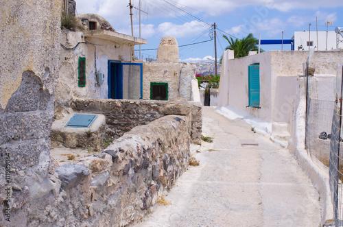 Narrow street on Santorini island, Greece