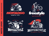 Motorcycle Shield emblem, logo design.