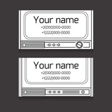 Set of black and white business card with old TV, space for text  for your business
