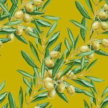 Achtergrond olijftak. naadloos patroon. aquarel illustrati