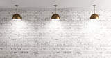 Lamps over brick wall interior background 3d render - 112009871