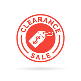 Special clearance sale promotion badge sign with red dollar label icon. Vector illustration.
