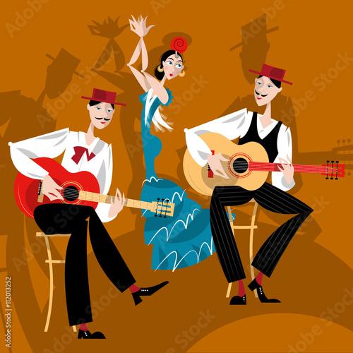 Flamenco. Dancing girl and two men playing a guitar.