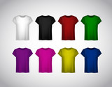 Set of colorful Tshirt for men. Realistic mockup.