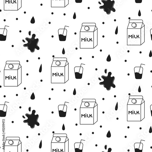 Tapeta Milk and cookie seamless vector pattern. Dairy fun black and white pattern with milk carton box and milk splash drops on white.